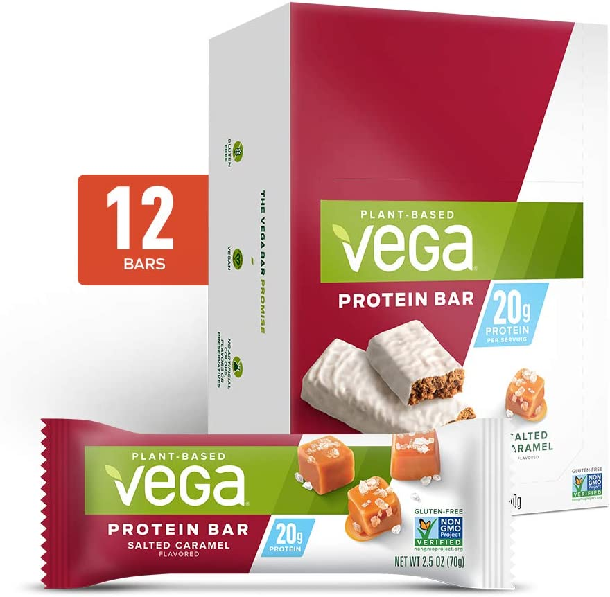 Vega 20g Protein Bar, Salted Caramel - High Protein Vegan Protein Bars, Plant Based, Vegetarian, Dairy Free, Gluten Free, Soy Free, Non GMO (12 Count)