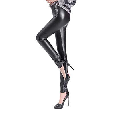 Befox Sexy Women Faux Leather High Waist Leggings Wet Look Tights Stretchy Pants