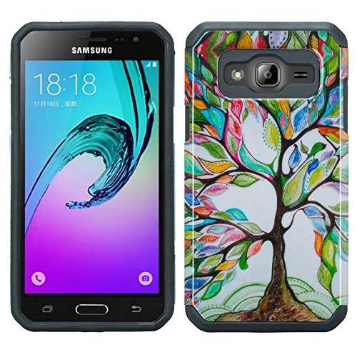 For Galaxy J3 Case, Galaxy Sky Case, J36v Galaxy Express Prime, Galaxy Sol, Galaxy Amp Prime Impact Resistant Hybrid Dual Layer Defender Protective Case Cover for Samsung Galaxy J3/J3v, Colorful Tree