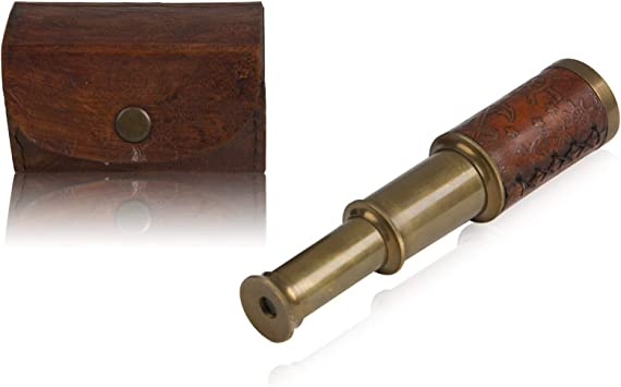"Antique vintage 6/"" brass telescope monocular telescope nautical pirate spyglass"
