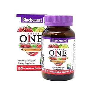 Bluebonnet Nutrition Ladies One Vegetable Capsule, Whole Food Multiple, K2, Organic Vegetable, Energy, Vitality, Non-GMO, Gluten Free, Soy Free, Milk Free, Kosher, 60 Vegetable Capsule, 2 Month Supply