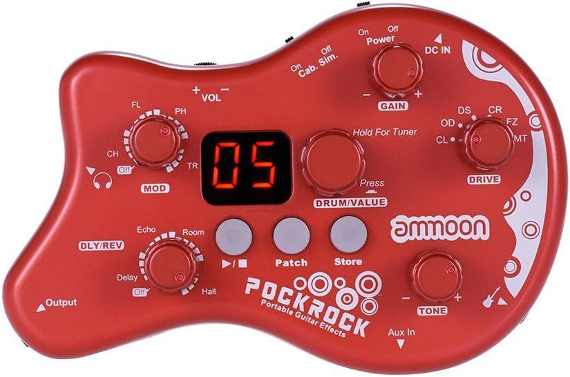 ammoon Múltiples Efecto Pedal PockRock Guitarra Portátil Procesador de Efectos 15 Tipos de Efectos 40 Ritmos del Tambor Función de Ajuste con Adaptador de Corriente (Rojo)