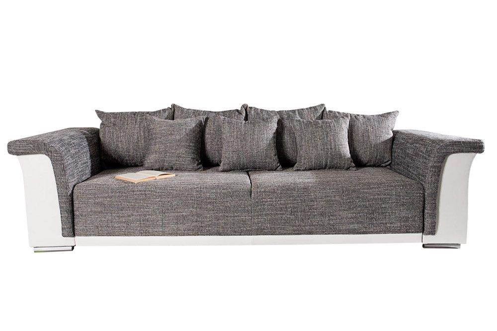 Design Big Xl Sofa Bellina Hellgrau Strukturstoff Weiss