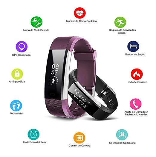 Amazon.com : ZLQF Fitness Tracker Activity Watch and Heart Rate Monitor, Ip67waterproof Touch Screen Smart Bracelet for Women, Men, Kids with Sleep Monitor, ...