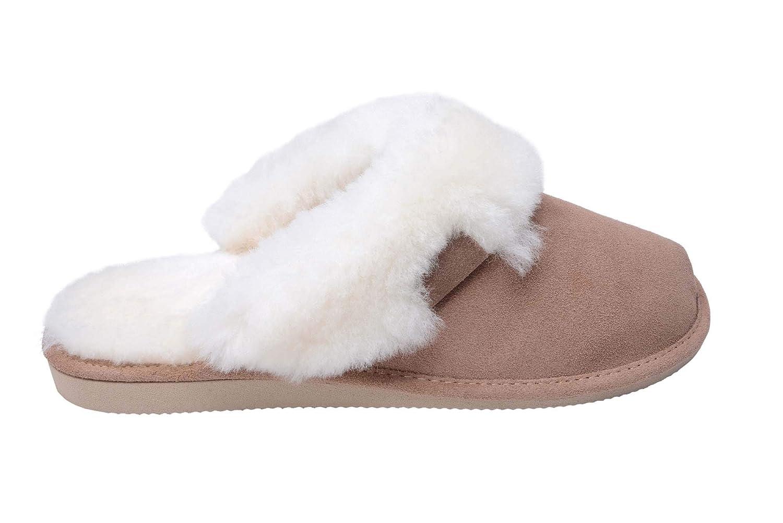 Vogar Femmes Luxe Peau de Mouton Pantoufles Chaussons B000LEQMF2 Manchette avec Mouton Double Chaud Laine Manchette W74 Beige/ Blanc 530408a - boatplans.space