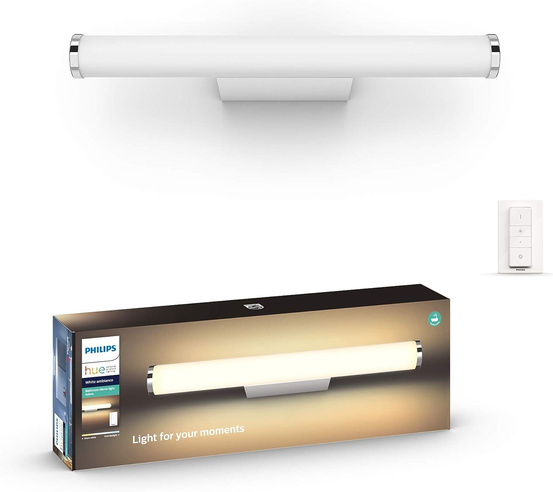 Philips Hue Adore - Aplique tamaño pequeño LED inteligente blanco para baño  con mando, luz regulable de blanca cálida (16K) a fría (16K)