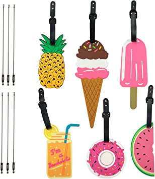 SkyCooool 6PCS Cute Colorful Travel Luggage Tags Label with 6PCS Steel Loop Wire