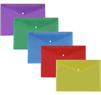 Carpetas de plástico A4 con forma de sobre para oficina o universidad, archivador de papel, color 12 x Assorted: Amazon.es: Oficina y papelería