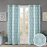 Cheap Room Darkening Curtains for Bedroom – Printed Medallion Inka Window Curtains Pair – Aqua Blue – 42×84 Inch Panel – Foam Back Energy Saving Curtains for Living Room – Grommet Top – Include 2 Panels