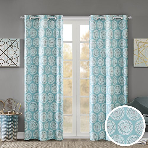 Comfort Spaces - Printed Medallion Inka Window Curtain Pair - Aqua - 42x84 Inch Panel - Room Darkening Energy Saving - 2 Pass Foam Back - Grommet Top - Include 2 Panels Aqua Curtain