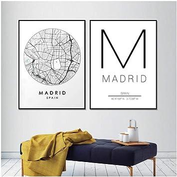 Madrid mapa de la ciudad arte de la pared impresión de la lona y ...