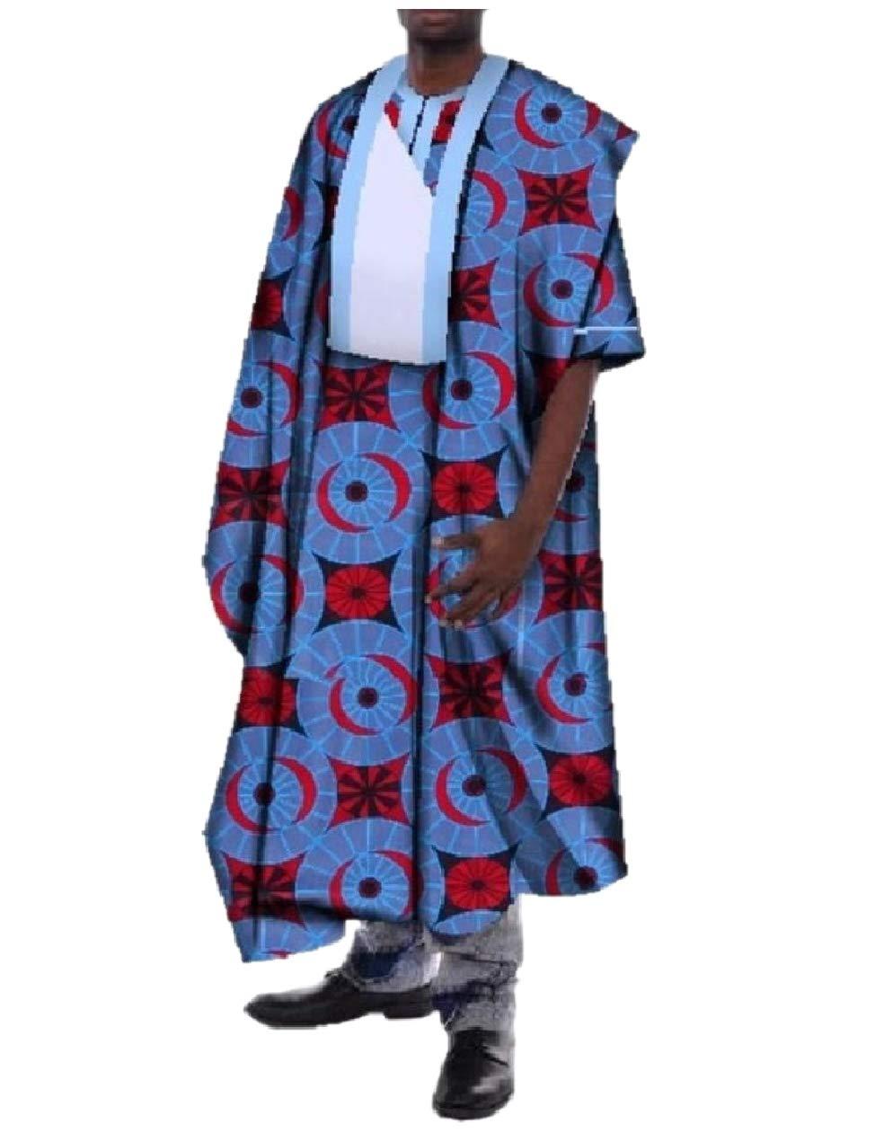 Tootless Men Premium Dashiki African Printed Ankle Length Back Cotton Robe Blue S