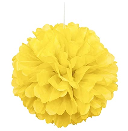 Amazon 10pcs yellow tissue hanging paper pom poms hmxpls 10pcs yellow tissue hanging paper pom poms hmxpls flower ball wedding party outdoor decoration mightylinksfo