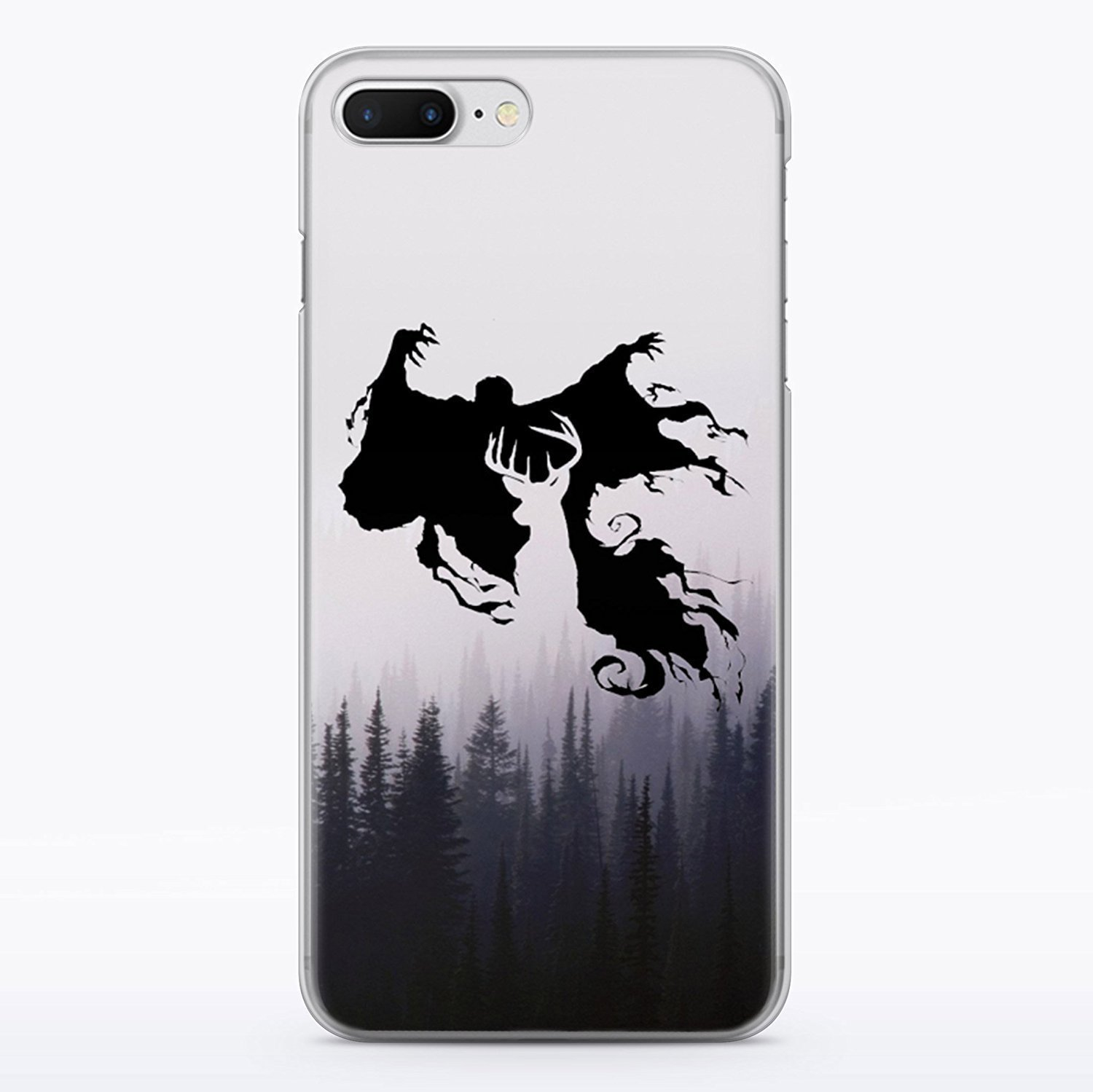 Harry Potter Patronus Deer iPhone 7 Plus and iPhone 8 Plus Clear Case Dementor Expecto Patronum Hogwarts Fandom Cell Phone Durable Plastic Case for iPhone 7 Plus iPhone 8 Plus Foggy Wood Nature MA1293