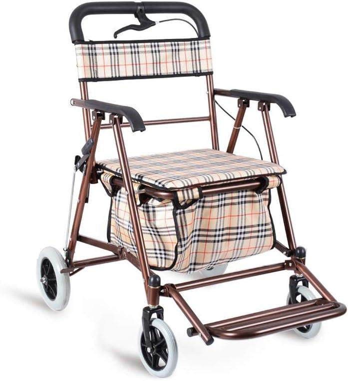 XJZHAN Marco para Caminar Andador con Andador Plegable Pasamanos Ergonómico Freno De Seguridad Doble con Bolsa De Transporte Ayuda para La Movilidad 4 Ruedas,Size1