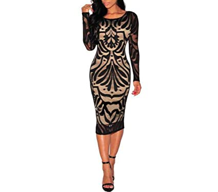 Women Sexy Bodycon Bandage Evening Party Long Sleeve Lace Dress Vestidos Cortos De Verano Lace Dresses
