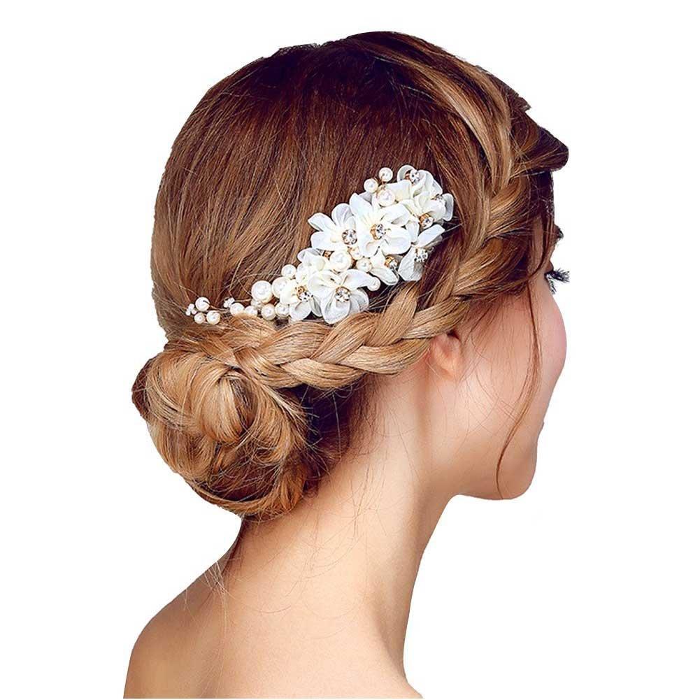 Song Rhinestone Pearl Yarn Flower Hair Comb Headwear Wedding Bridal Headpieces (White)