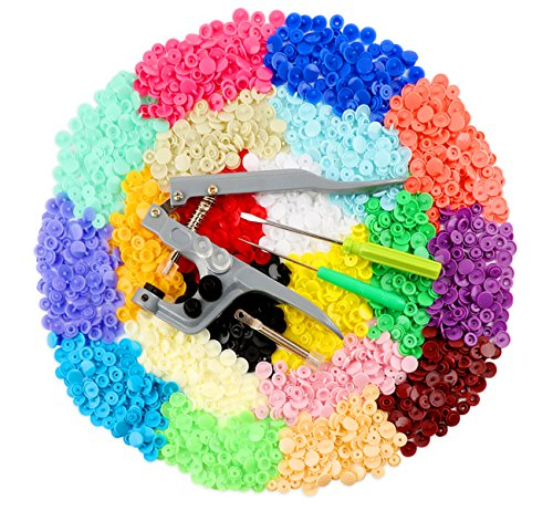 ilauke Snap Buttons 400 Sets 20 Colors with Snap Press Pliers T5 Plastic Snaps No-Sew Buttons Fastener Setter for Baby Cloth Diapers Bibs Rain Coat (Assorted Plier Set)