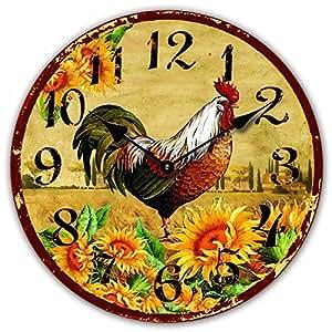 Reloj de pared diseno gallo estilo de campo reloj de la - Reloj cocina diseno ...