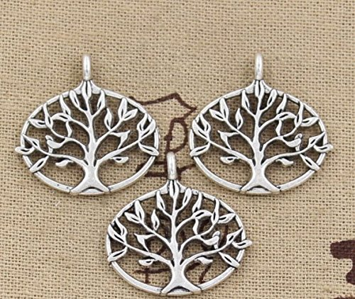 7pcs Round Tree of Life Charms Pendants 27x27mm Vintage Antique Silver Plated DIY (NS755) Antique Silver Tree Pendant