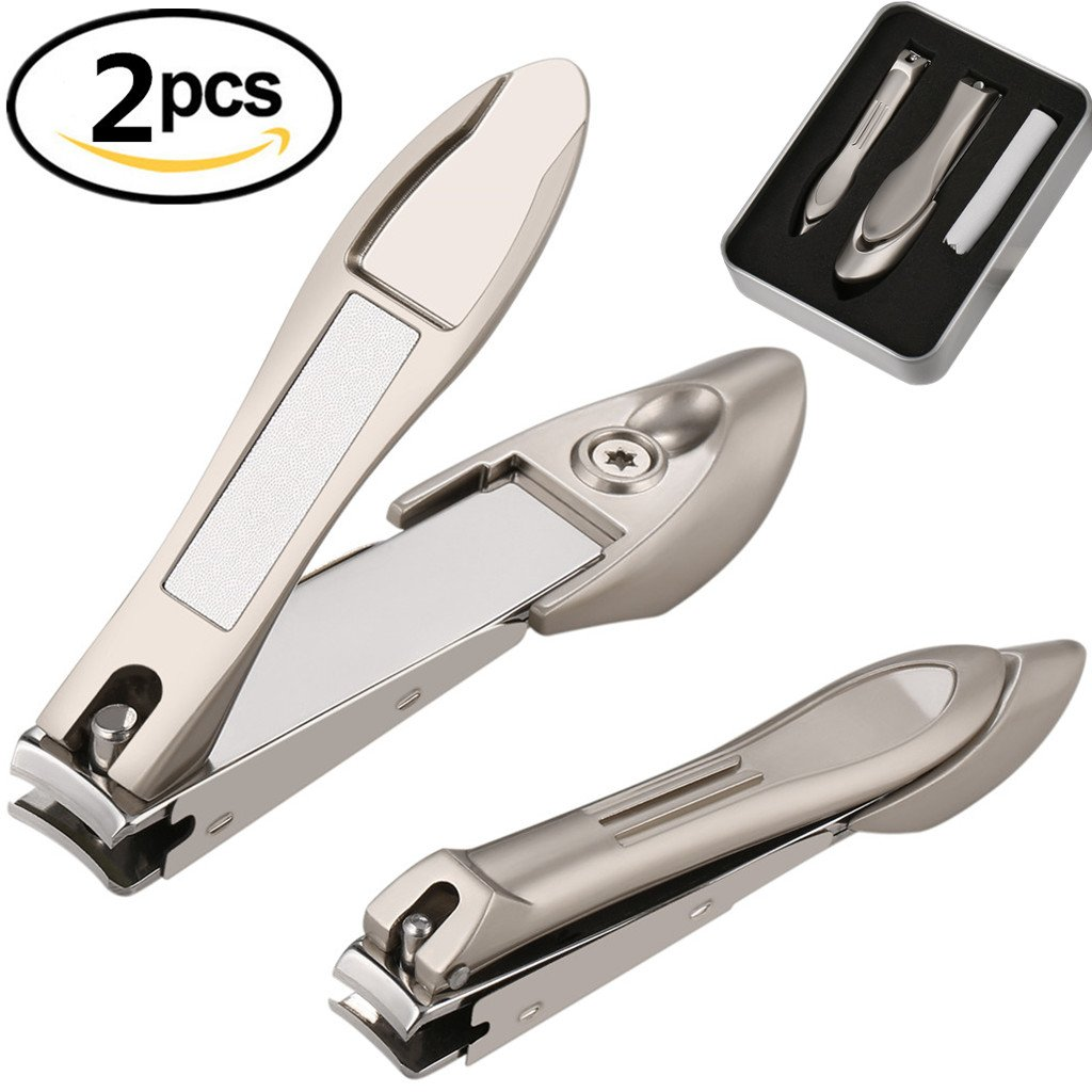 Nail Clippers Set with Catcher Stainless Steel Cuticle Cutter Professional Manicure Pedicure Tool with Cleaning Cloth Sturdy Sharp Deluxe Iron Box for Fingernail Toenail Thick Nails-BUVE(2pcs, Gold)