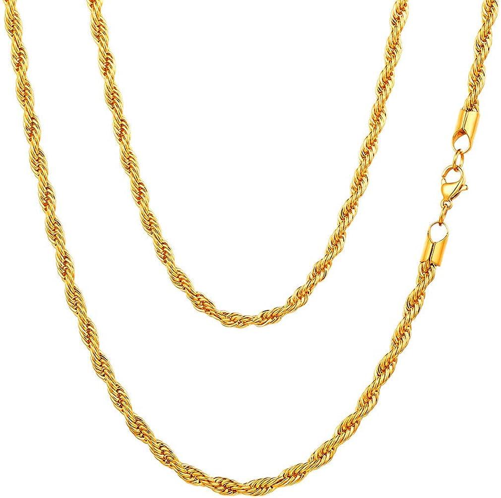 FaithHeart 3/6MM Collar Trigo Espiga Cuerdas Trenzadas Twist Rope Chain Cadenas Sólidas de Acero Inoxidable Plateado/Dorado/Negro Collar Básico Personalizables para Hombres y Mujeres Joyería Simple