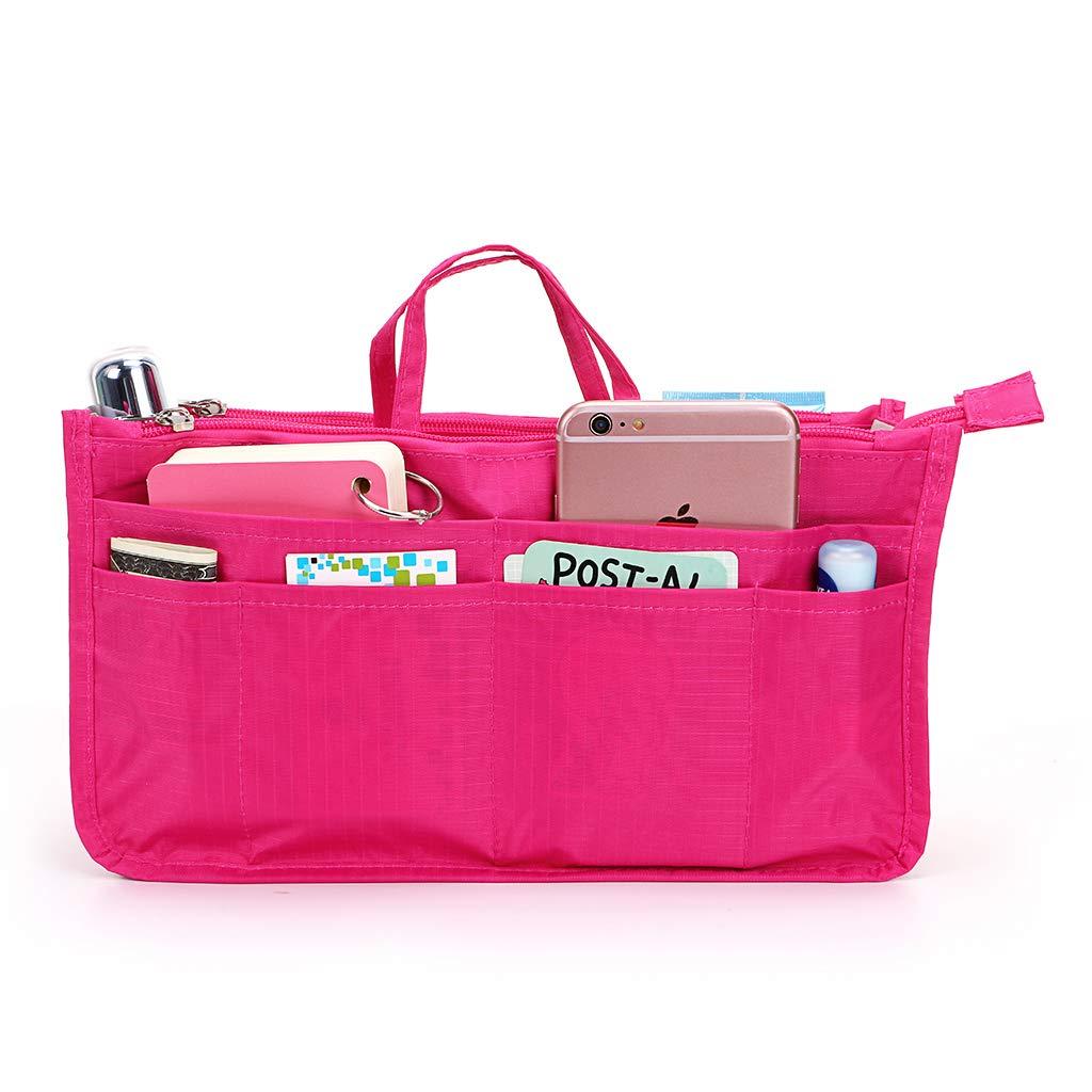 BTSKY Printing Handbag Organizers Inside Purse Insert-High Capacity 13 Pockets Bag Tote Organizer with Handle (Red)