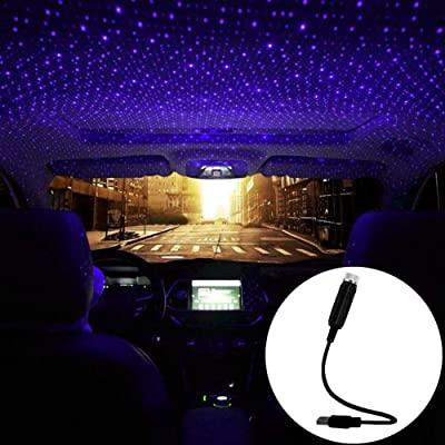 Car USB Atmosphere Ambient Star Projector Night Light Car Interior LED Decorative Lights Adjustable Romantic Car Roof Light Blue Purple Color: Automotive