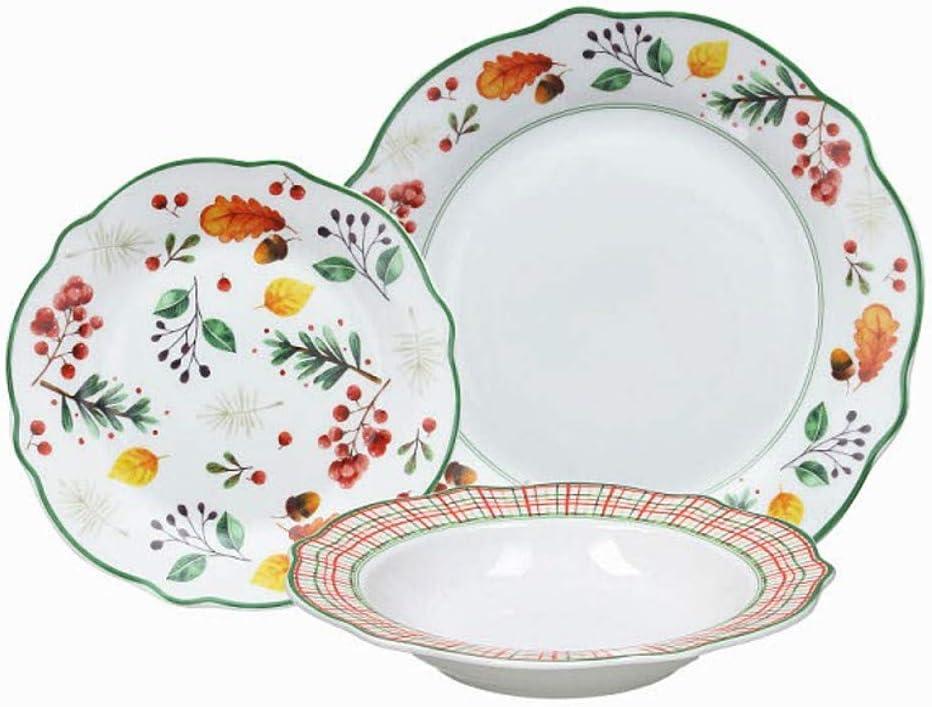 porcelaine blanc//bleu Tognana OM071185379 Service de table 18 assiettes