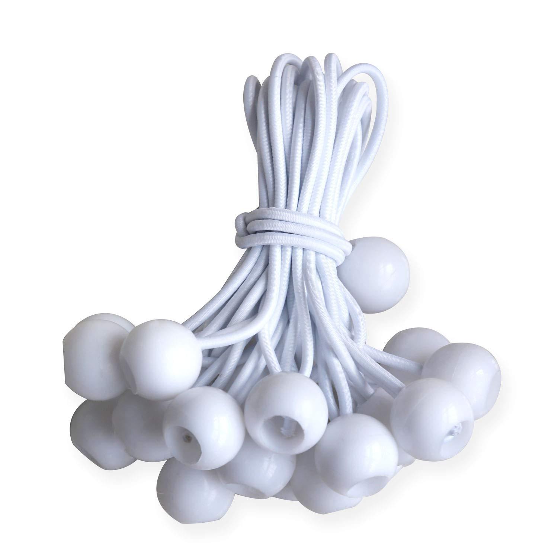 ABCCANOPY Heavy Duty Ball Bungee Canopy Tarp Tie Down Cord Elastic String Ball Bungee tarp Ball Ties White 6 White 25pcs