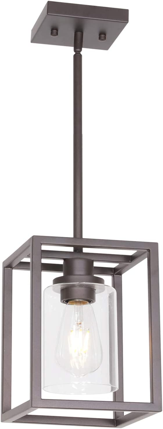 VINLUZ Single Modern Glass Pendant Light Metal Classic Oil Rubbed Bronze with Clear Glass Shade Fixture for Foyer Kitchen Entryway Dining Room