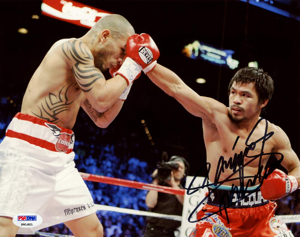 "MANNY PACQUIAO AUTOGRAPHED 8X10 PHOTO""PACMAN"" VS. MIGUEL COTTO PSA/DNA STOCK #138578"