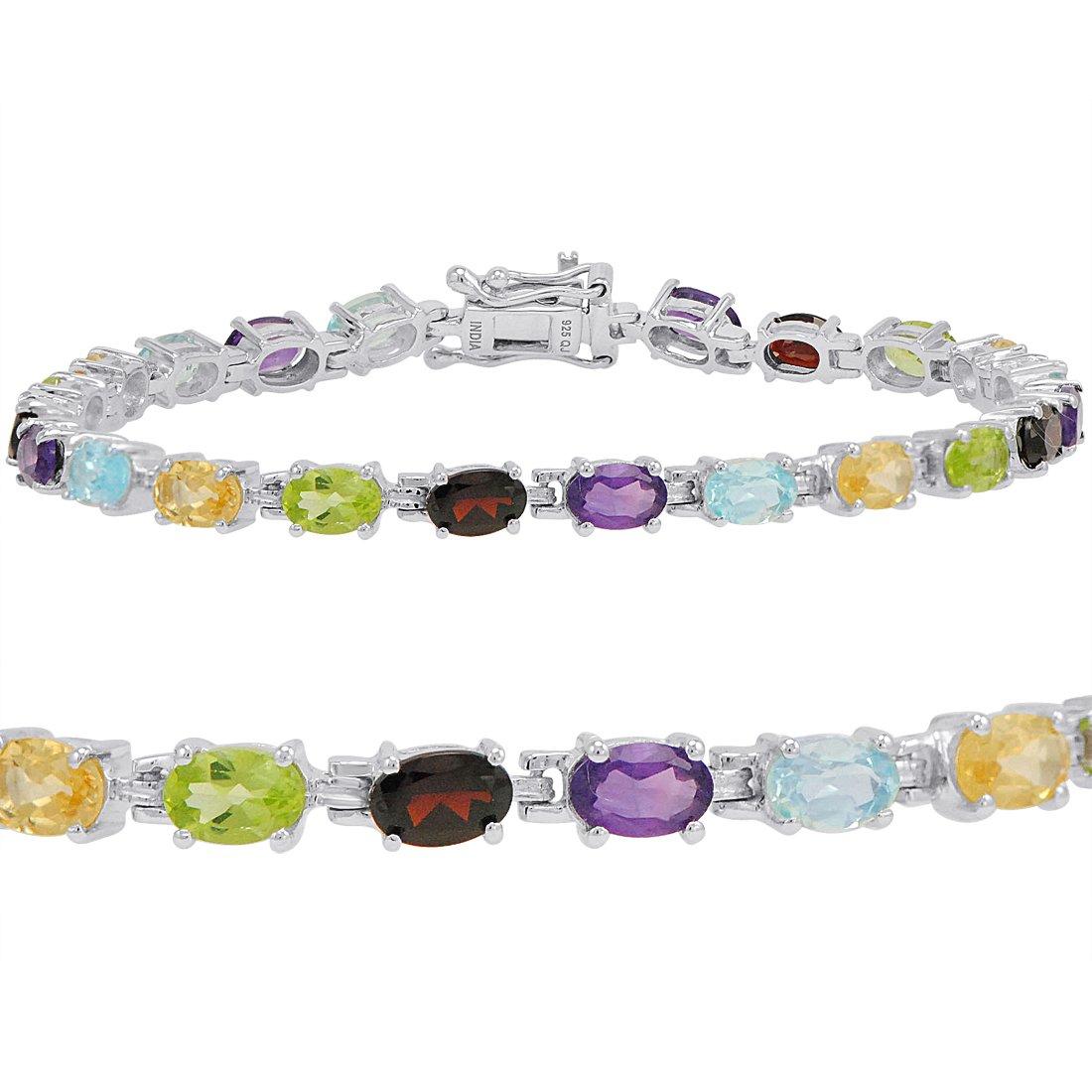 10ct TGW Multi Gemstone Tennis Bracelet in Sterling Silver