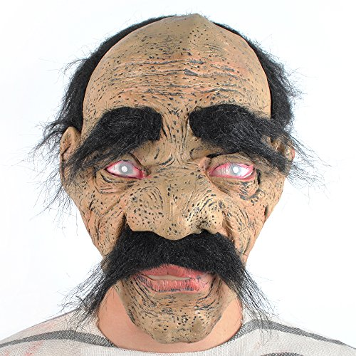 Oldies Costume (Halloween Mask Bad Geezer Beard Sneaky Bald Old Man with Dirty Face Scary Horror Costume)