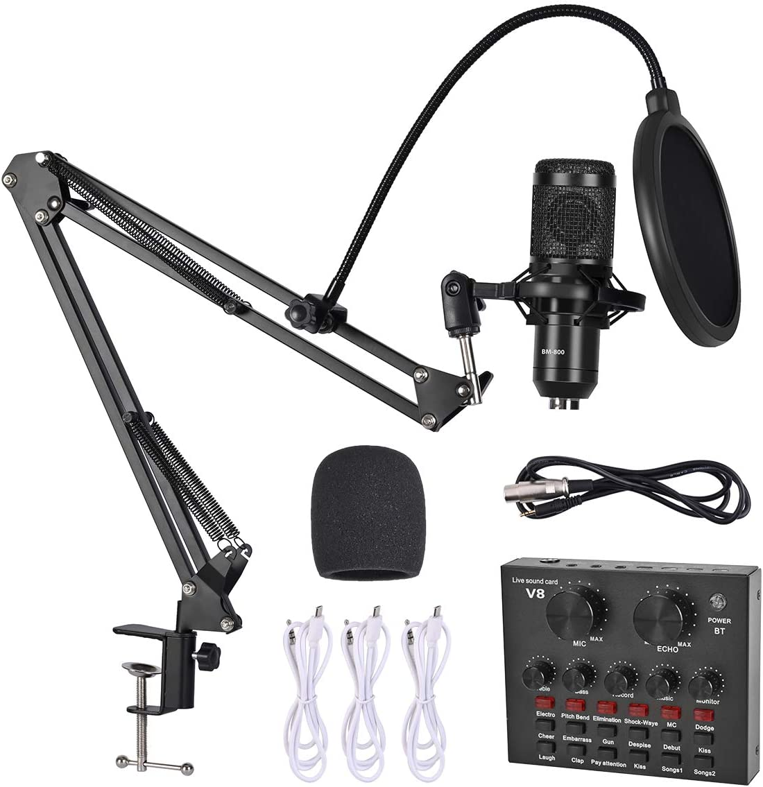 Condenser Microphone Bundle - Recording Home/Studio DJ Equipment with Live Sound Card, Adjustable Mic Suspension Scissor Arm, Metal Shock Mount and Double-Layer Pop Filter for Recording & Broadcasting