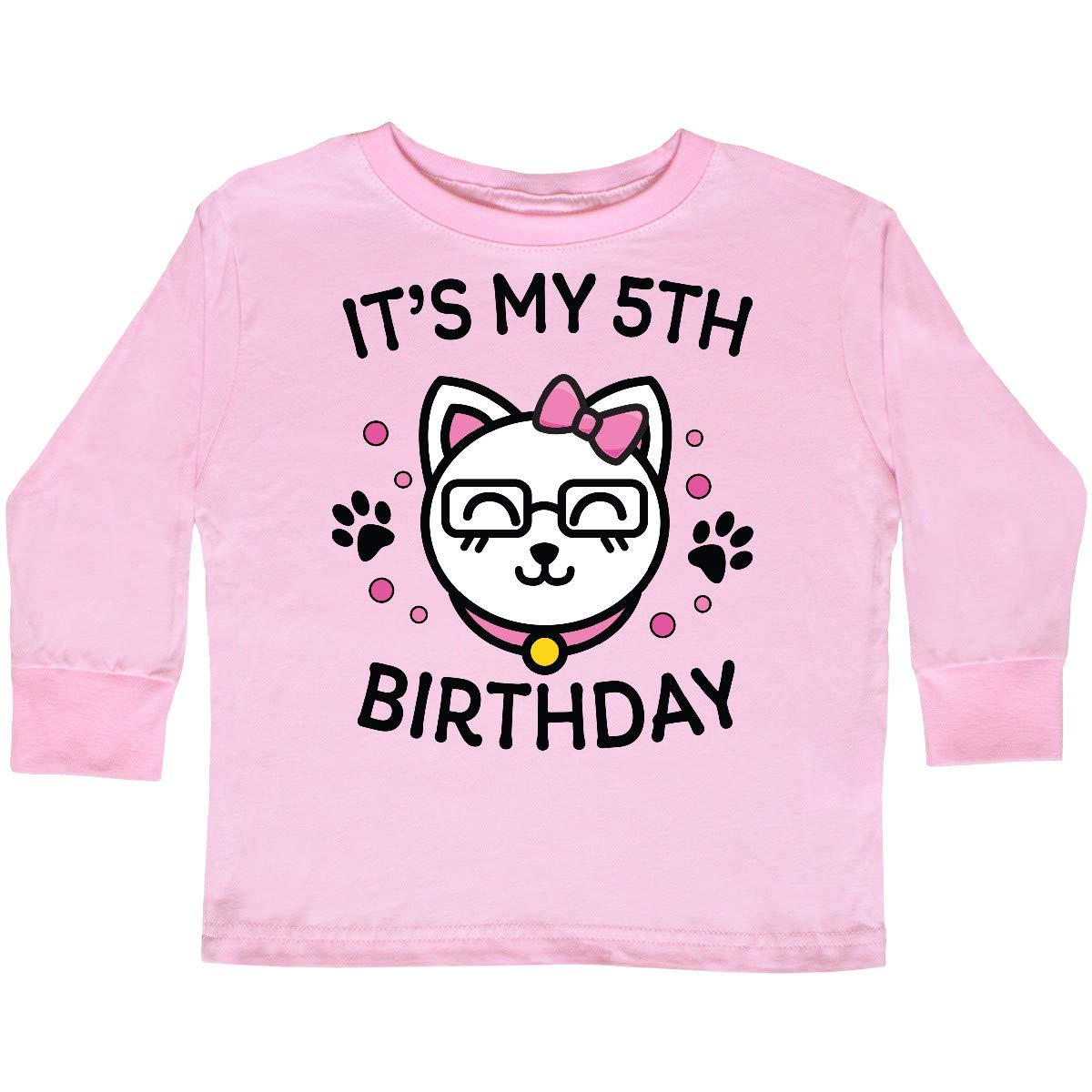 inktastic Its My 5th Birthday with Cat in Glasses Toddler Long Sleeve T-Shirt