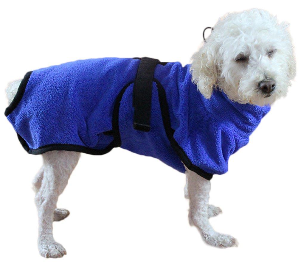 Hundebademantel Mikrofaser Hundemantel Doggy Dry hund Trockenmantel mit verstellbaren Trägern Blau (XS) hikong