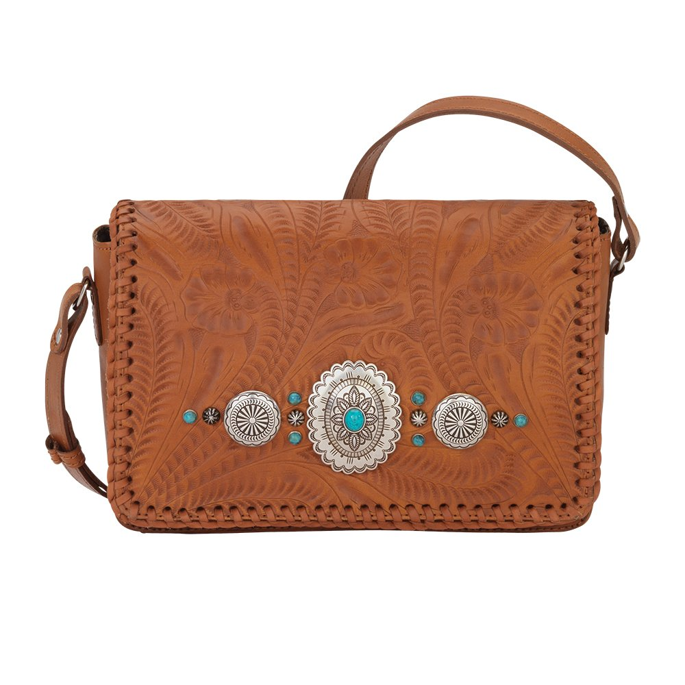 American West Women's Lariat Love Crossbody Flap Bag/Wallet Tan One Size