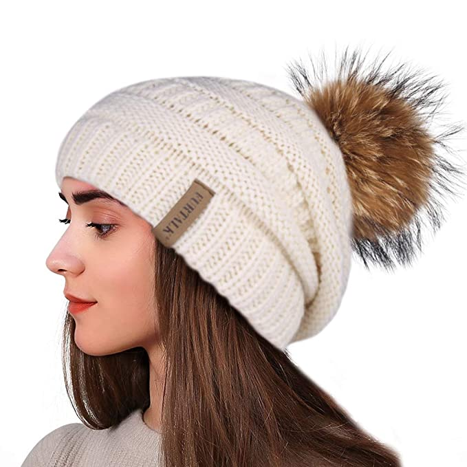 e208e13181b1b Winter Real Fur Pom Beanie Hat Warm Oversized Chunky Cable Knit Slouch  Beanie Hats for Women