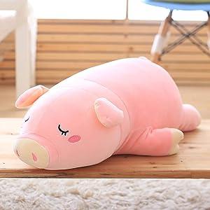 Gianthairball Pig Plush Pillow,Piggy Soft Hugging Pillow Funny Cute Pig Stuffed Animal Toys Christmas Birthday Girlfriend Gift (27'')