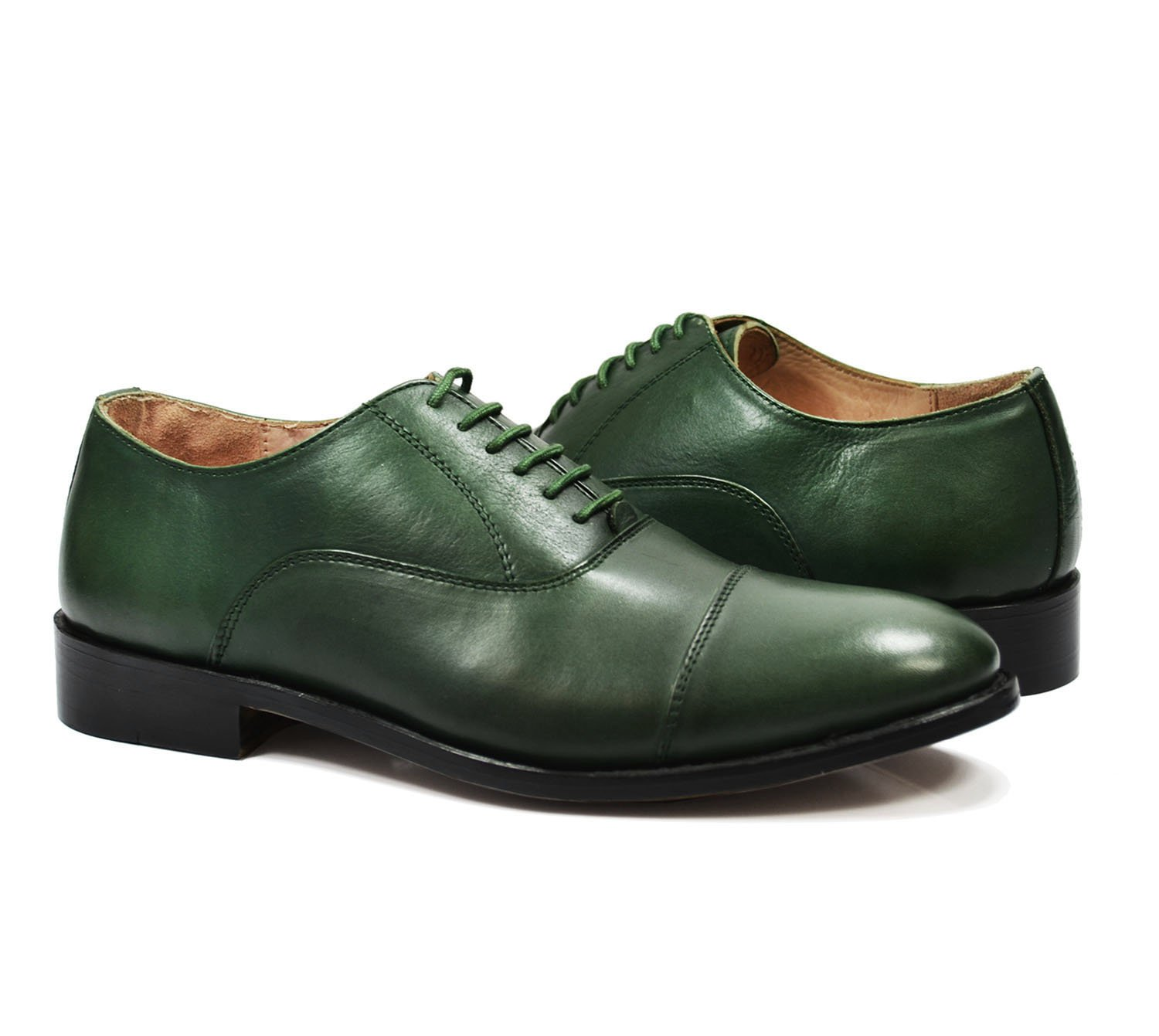 Paul Malone Cap-Toe in Smoke Pine Green, Full Leather