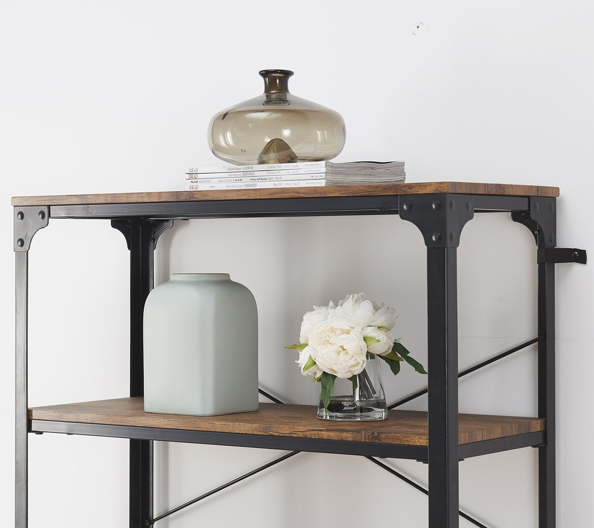 "O&K Furniture 4-Shelf Industrial Vintage Bookcase, Metal Bookshelf, 48""H x 33""W x 13""D, Barn-Wood Finish by O&K Furniture (Image #7)"
