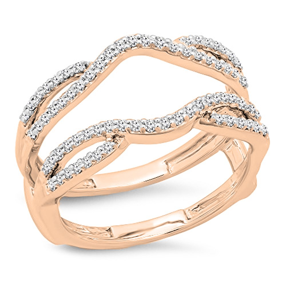 0.35 Carat (ctw) 10K Rose Gold White Diamond Wedding Enhancer Guard Double Band 1/3 CT (Size 8)