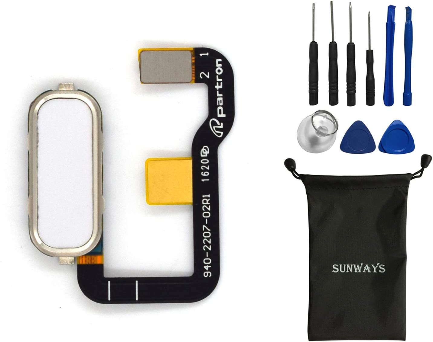 sunways Fingerprint Touch ID Button Flex Cable Replacement for Asus Zenfone 3 Ultra ZU680KL(White)
