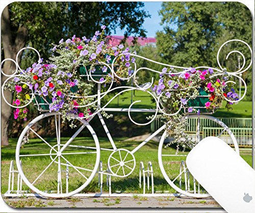Luxlady Mouse Pad Natural Rubber Mousepad 9.25in X 7.25in IMAGE: 31760178 Vintage decorative bicycle carrying flowers outdoors