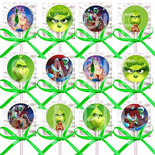 The Grinch Lollipops Party Favors Decorations Movie Lollipops w/ Mint Green Ribbon Bows Party Favors -12, who Stole Christmas, Whoville, Dog Max, Cindy Lou Who]()