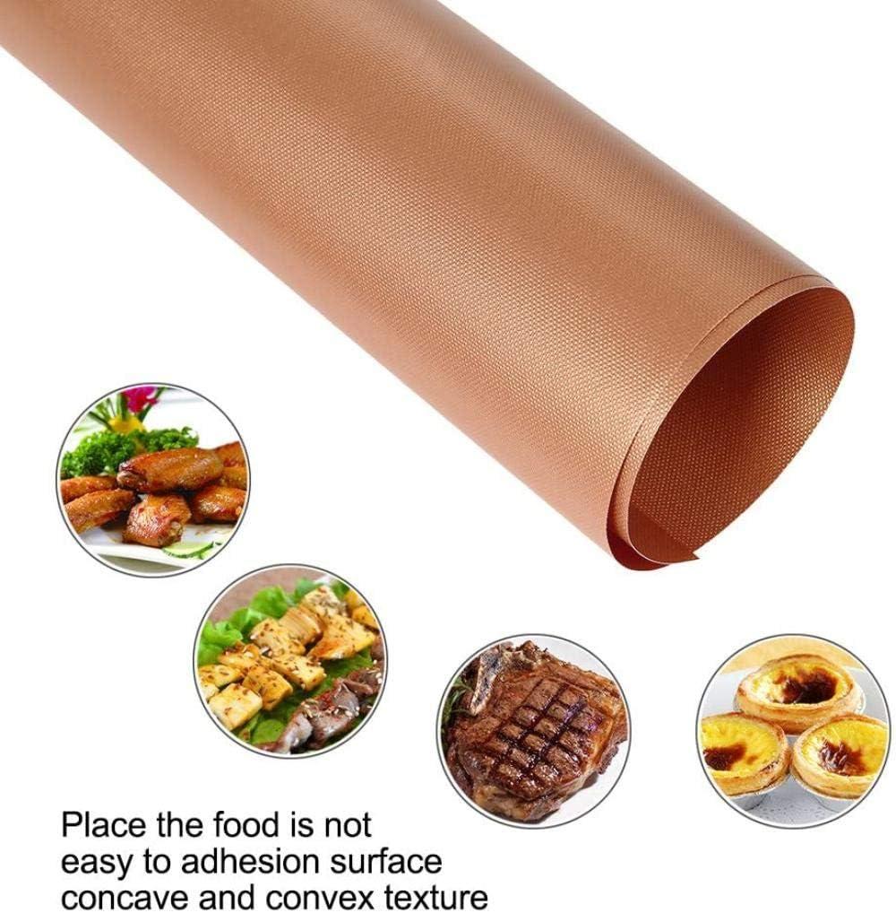 FMXKSW Barbecue Grill Tapis 2/3 PCS Réutilisable Antiadhésif Pad Feuille De Cuisson Portable en Plein Air Pique-Nique Cuisson Barbecue Four Outil 40 * 33 cm, Noir 3 pcs Cuivre 2Pcs