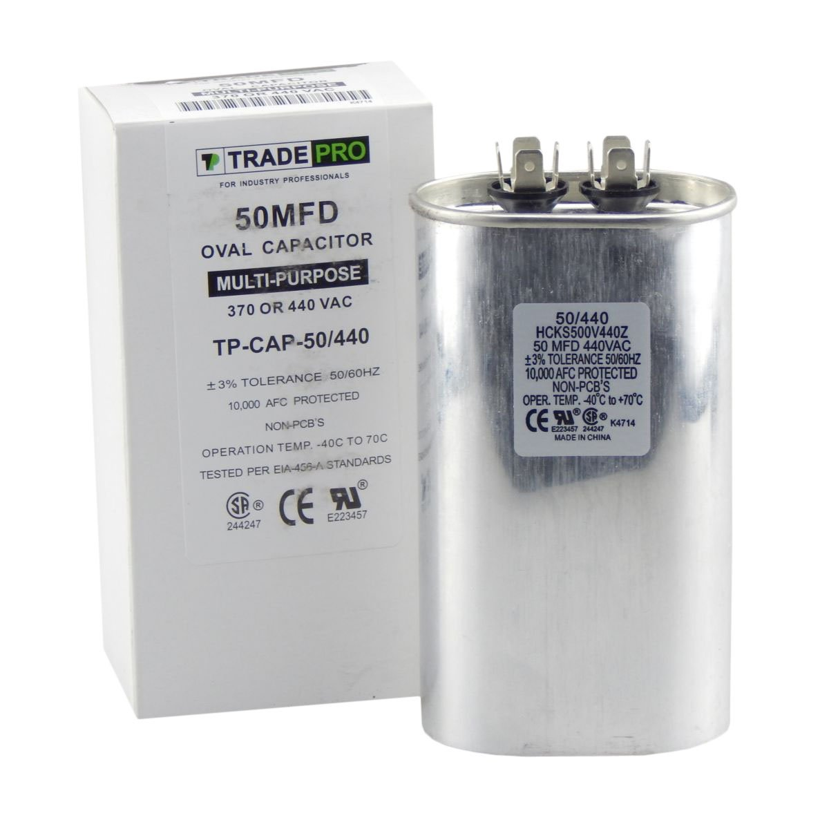 50 mfd Capacitor, Industrial Grade Replacement for Central Air-Conditioners, Heat Pumps, Condenser Fan Motors, and Compressors. Oval Multi-Purpose 370/440 Volt - by Trade Pro by TradePro