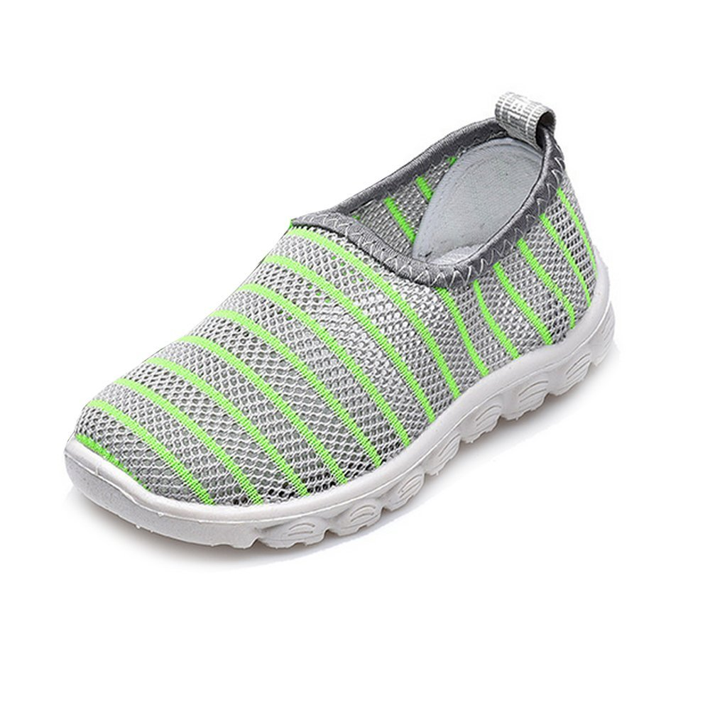 Antheron Kids Water Shoes Boys Girls Breathable Slip-On Summer Pool Beach Mesh Sneakers (Toddler/Little Kid) Gray,26