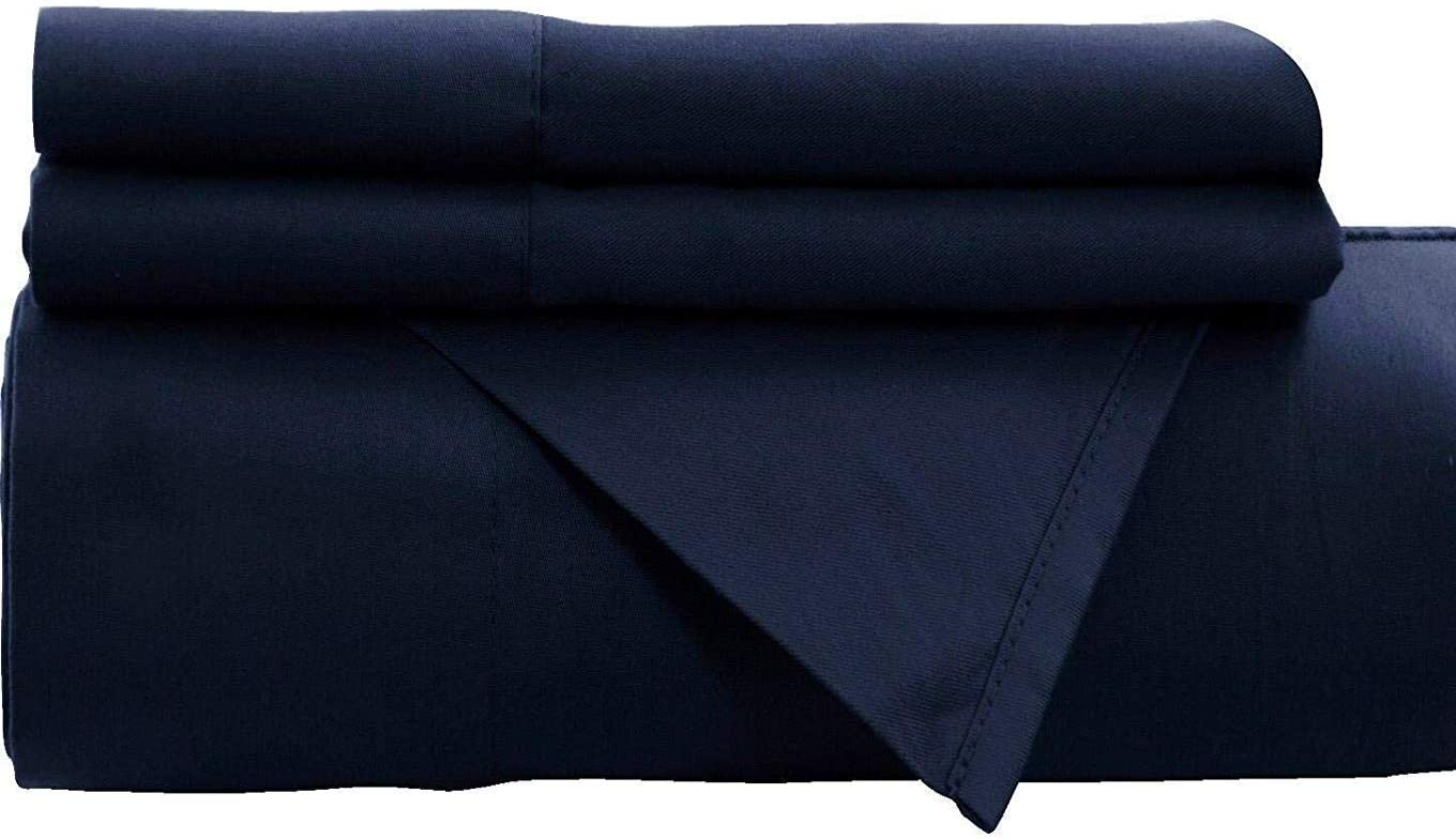Empire Home Navy Fitted Sheet Persian 1800 Collection Deep Pocket Wrinkle Free New (King)
